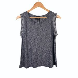 Anthropologie W5 Marled Embroidered Tank